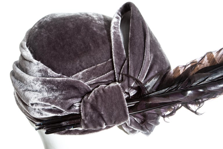 Women's Christian Dior by John Galliano purple velvet pill box hat with feathers For Sale