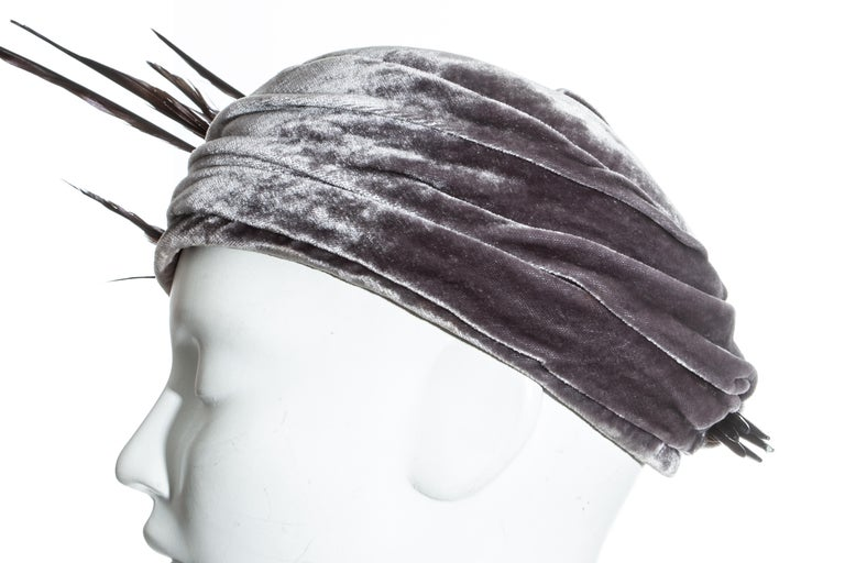 Christian Dior by John Galliano purple velvet pill box hat with feathers For Sale 2