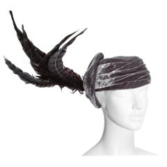 Christian Dior by John Galliano purple velvet pill box hat with feathers