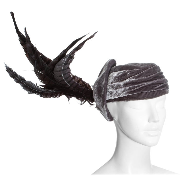 Christian Dior by John Galliano purple velvet pill box hat with feathers For Sale