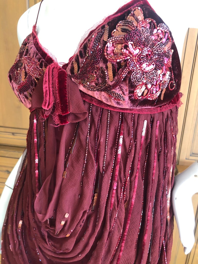 Brown Christian Dior by John Galliano Red Draped Cocktail Dress with Lesage Beadwork  For Sale