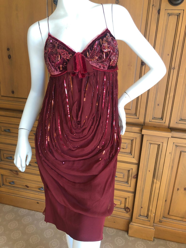 Women's Christian Dior by John Galliano Red Draped Cocktail Dress with Lesage Beadwork  For Sale