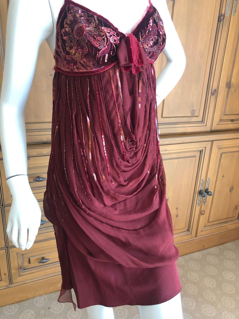 Christian Dior by John Galliano Red Draped Cocktail Dress with Lesage Beadwork  For Sale 1