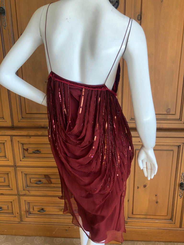 Christian Dior by John Galliano Red Draped Cocktail Dress with Lesage Beadwork  For Sale 3