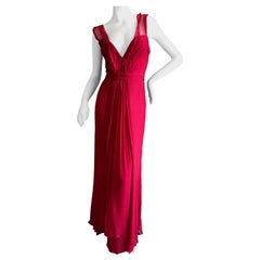 Christian Dior by John Galliano Red Silk Plunging Pleated Silk Dress