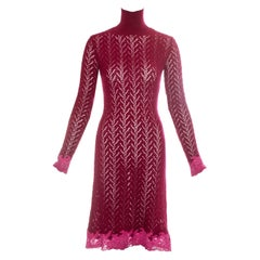 Christian Dior by John Galliano red sweater dress with pink lace, fw 1998