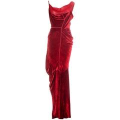 Christian Dior by John Galliano red velvet bias cut evening dress, fw 2006