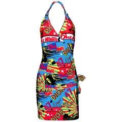 Christian Dior by John Galliano Reggae Rastafari Marley Print Neckholder Dress