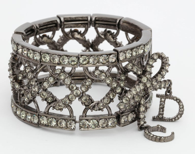 Contemporary Christian Dior by John Galliano Rhinestone Bangle with Bow For Sale