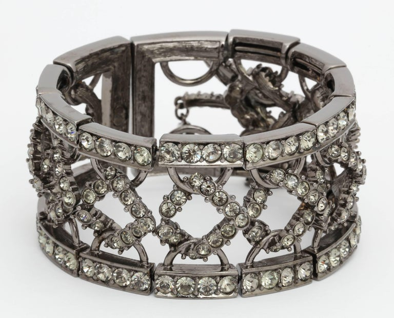 Christian Dior by John Galliano Rhinestone Bangle with Bow In Excellent Condition For Sale In Chicago, IL