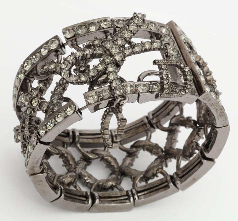 Christian Dior by John Galliano Rhinestone Bangle with Bow For Sale 1