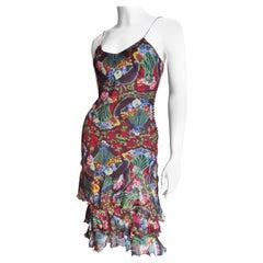 Christian Dior by John Galliano Ruffle Hem Silk Dress