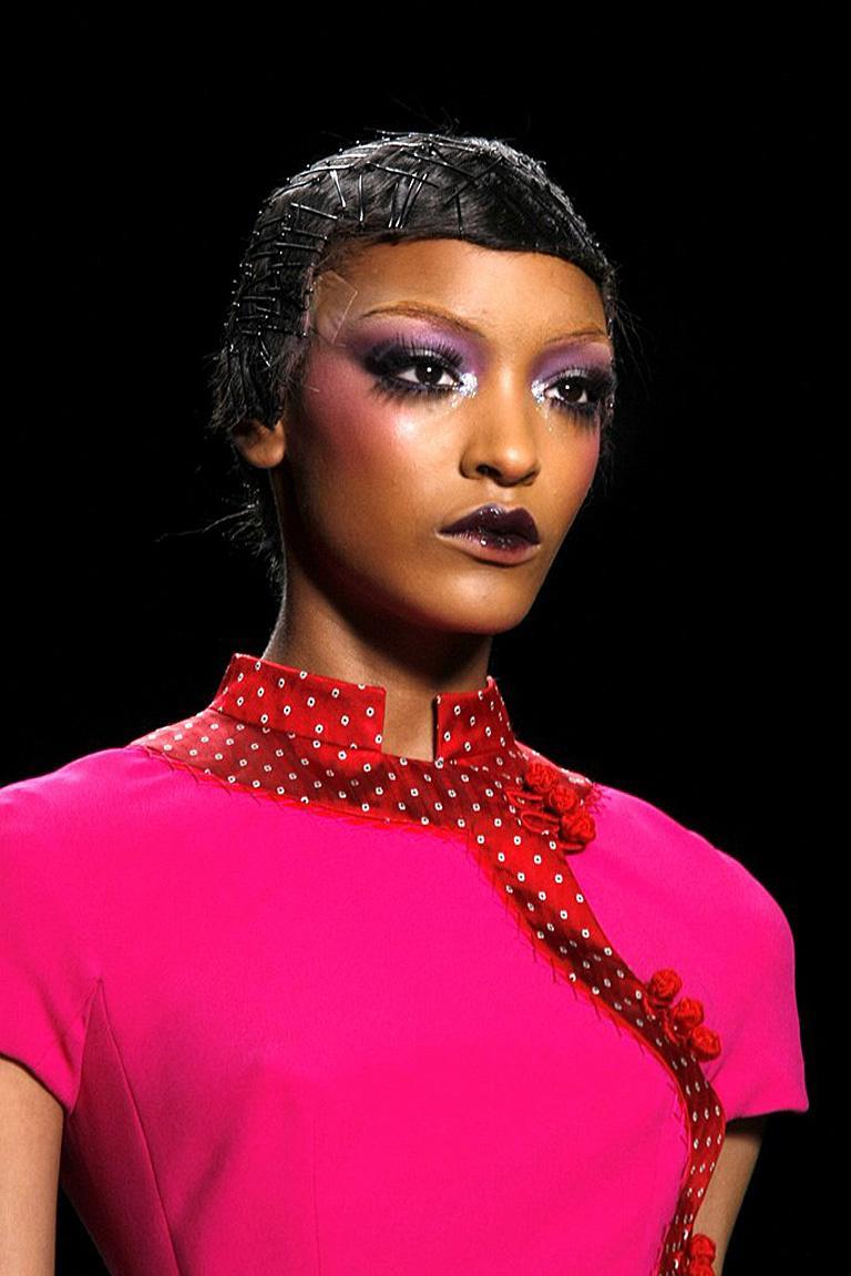 Purple Christian Dior by John Galliano Runway Stylish Asian Inspired Dress For Sale