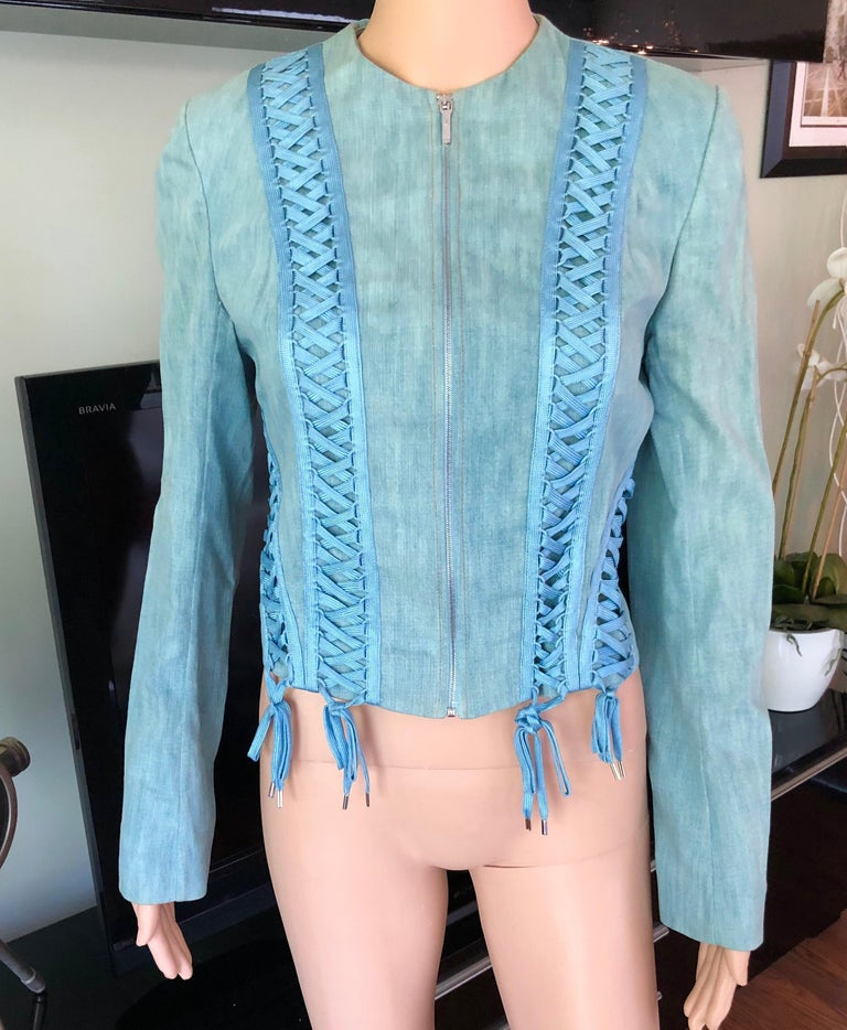 Blue Christian Dior By John Galliano S/S 2002 Lace-Up Denim Jacket For Sale