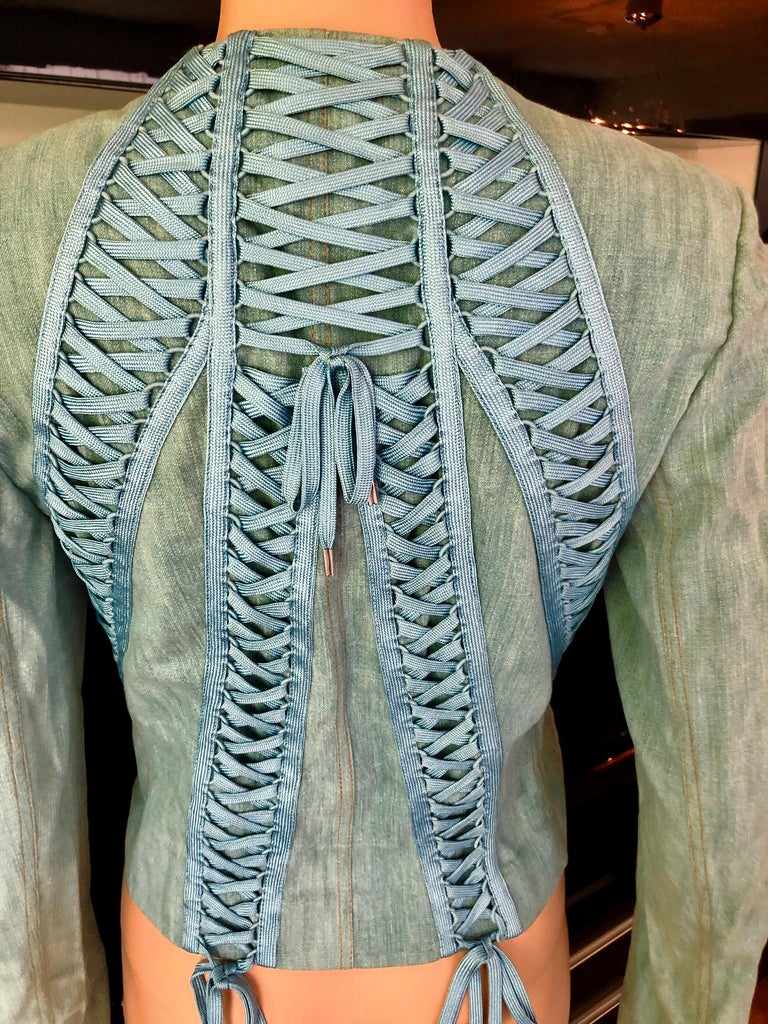 Christian Dior By John Galliano S/S 2002 Lace-Up Denim Jacket In Good Condition For Sale In Totowa, NJ