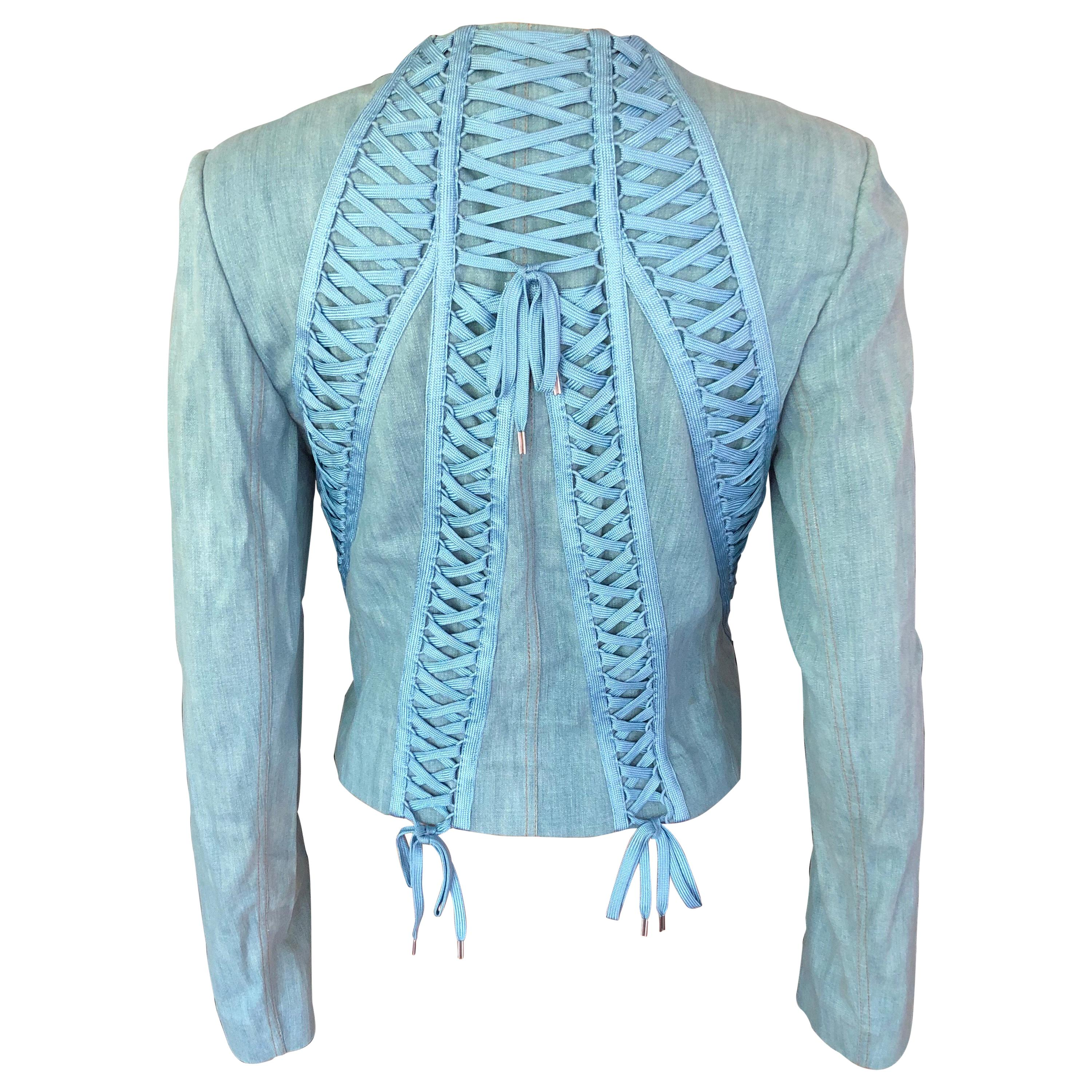 Christian Dior By John Galliano S/S 2002 Lace-Up Denim Jacket