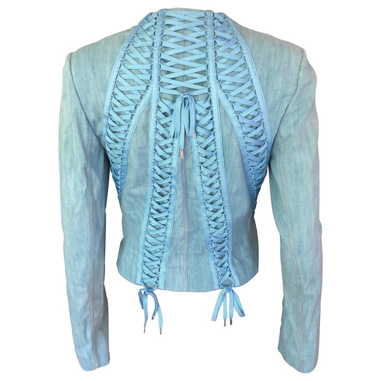 Christian Dior By John Galliano S/S 2002 Lace-Up Denim Jacket For Sale