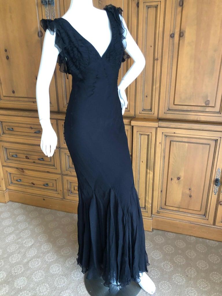 Gray Christian Dior by John Galliano Seductive Low Cut Bias Cut Black Silk Dress For Sale