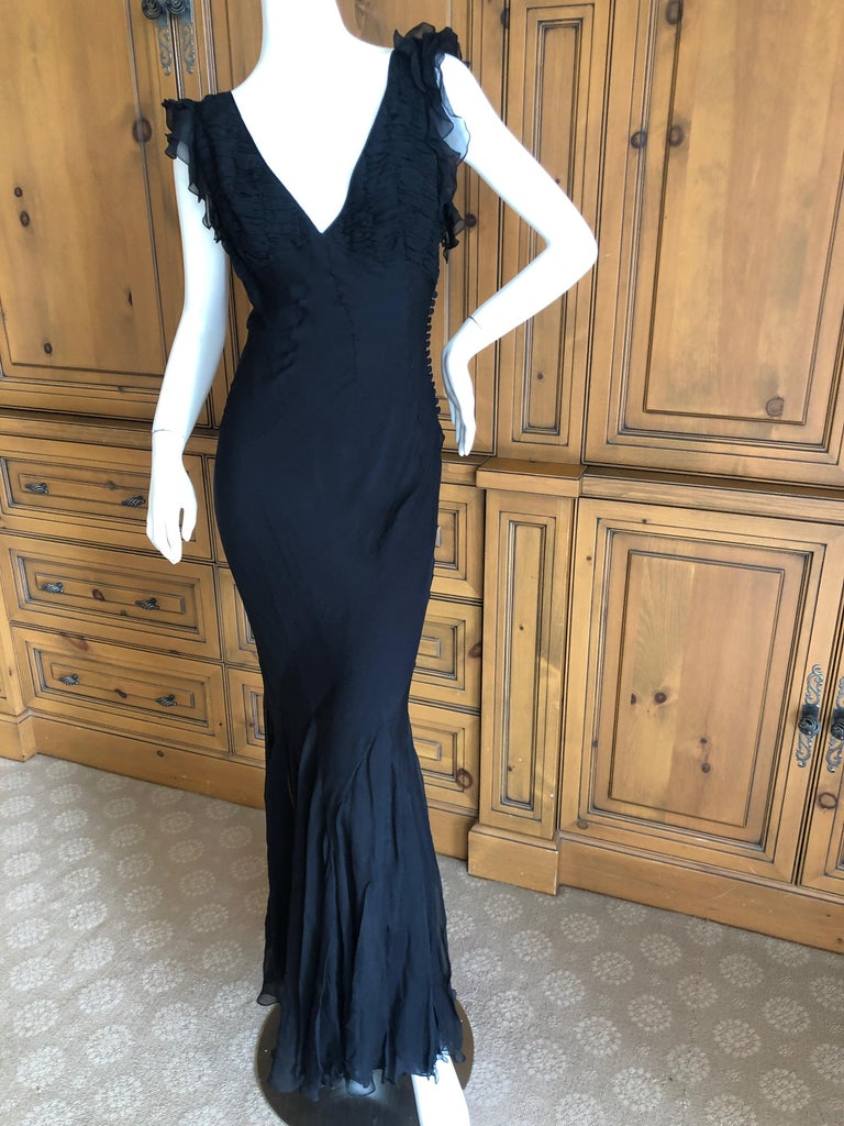 Christian Dior by John Galliano Seductive Low Cut Bias Cut Black Silk Dress In Excellent Condition For Sale In San Francisco, CA