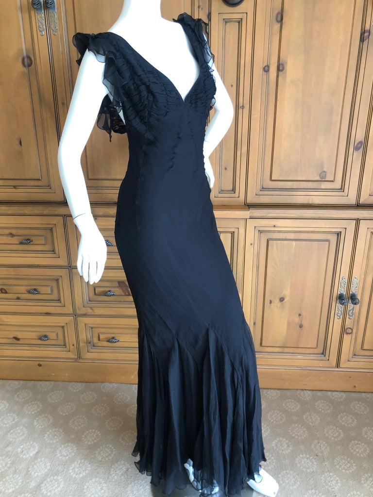 Christian Dior by John Galliano Seductive Low Cut Bias Cut Black Silk Dress For Sale 1