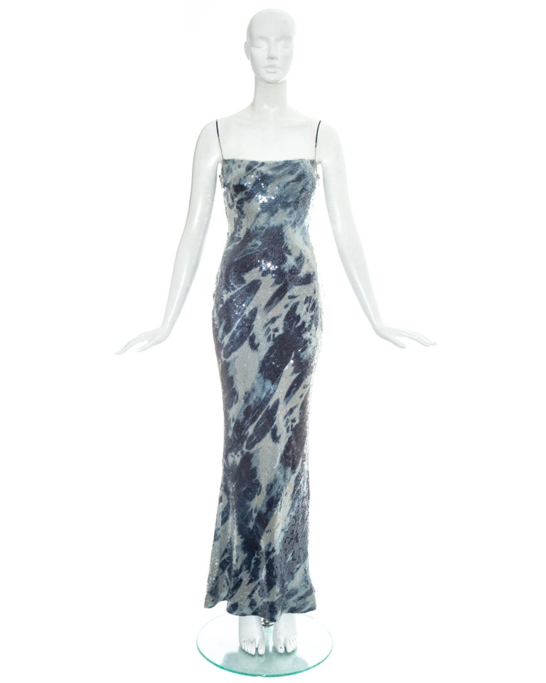 Christian Dior by John Galliano sequin maxi dress with bleached denim affect and spaghetti straps.   Fall-Winter 2000