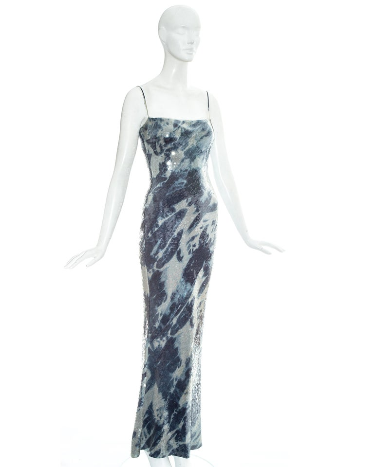 Christian Dior by John Galliano sequin denim affect evening dress, fw 2000 In Good Condition For Sale In London, GB