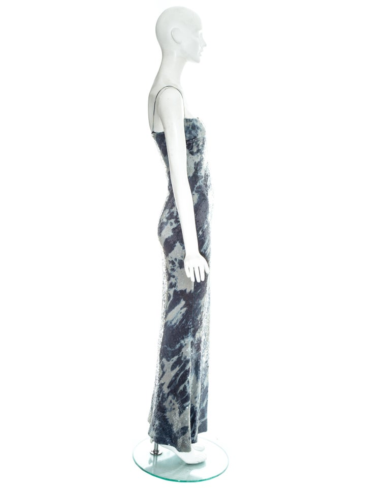 Christian Dior by John Galliano sequin denim affect evening dress, fw 2000 For Sale 1