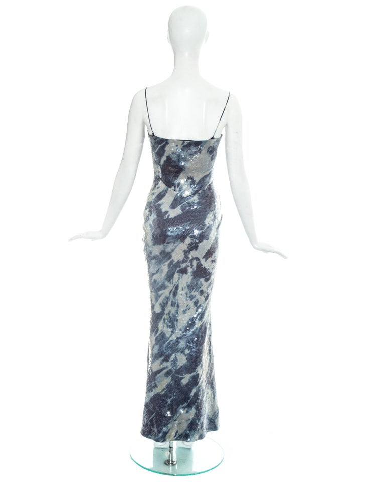 Christian Dior by John Galliano sequin denim affect evening dress, fw 2000 For Sale 2