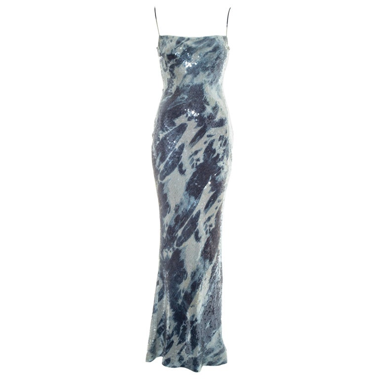 Christian Dior by John Galliano sequin denim affect evening dress, fw 2000 For Sale