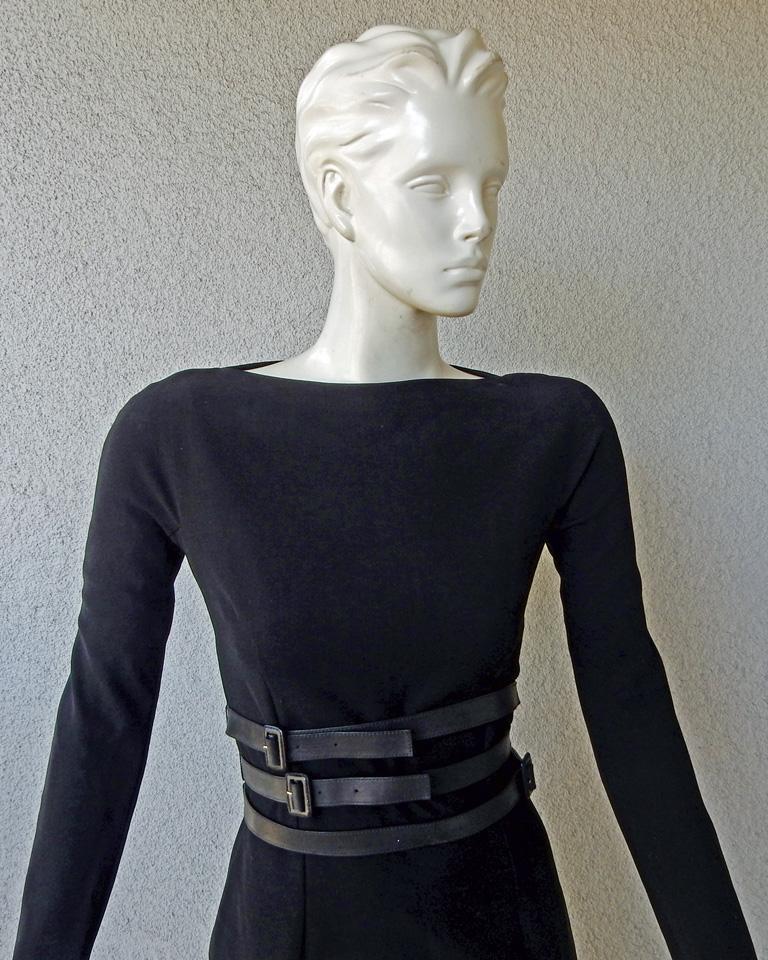Black Christian Dior by John Galliano Sheath w/3 Wrap Belts & Bustle Dress For Sale