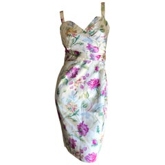 Christian Dior by John Galliano Silk Floral Cocktail Dress