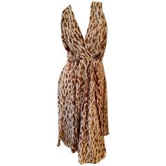 Christian Dior by John Galliano Silk Leopard Print Low Cut Dress
