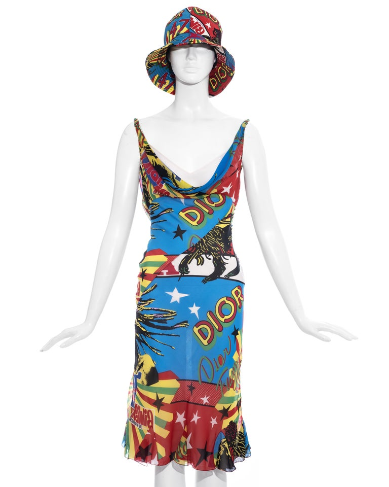 Christian Dior by John Galliano silk chiffon mid-length slip dress and matching bucket hat with signature 'Rasta Mania' print, draped cleavage, open back, fabric button fastenings and attached cream silk slip dress     Spring-Summer 2004