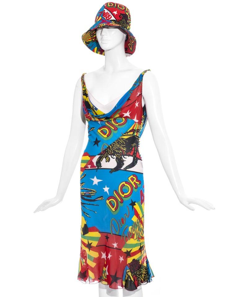 Women's Christian Dior by John Galliano silk Rasta Mania slip dress and hat, ss 2004 For Sale