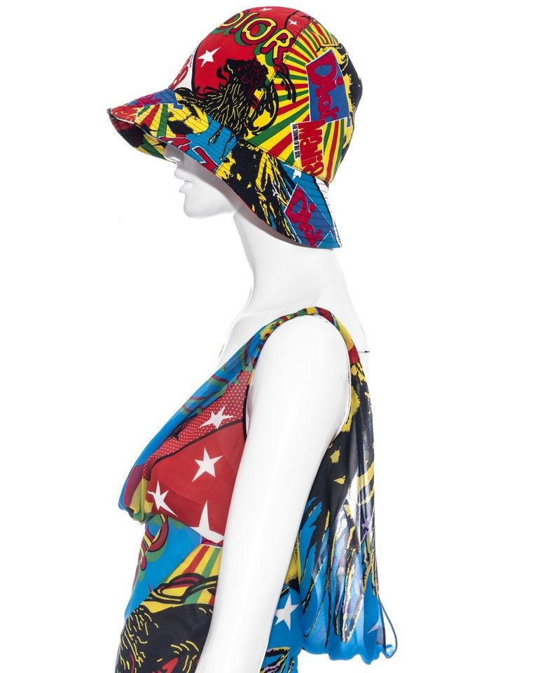 Christian Dior by John Galliano silk Rasta Mania slip dress and hat, ss 2004 For Sale 2