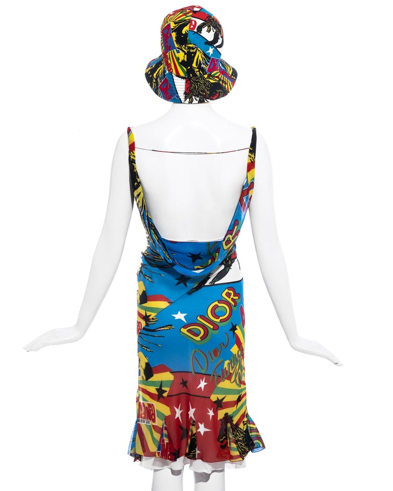 Christian Dior by John Galliano silk Rasta Mania slip dress and hat, ss 2004 For Sale 3