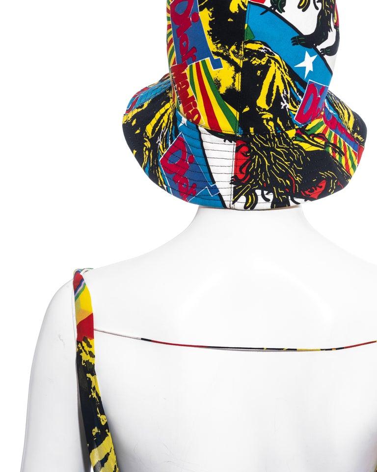 Christian Dior by John Galliano silk Rasta Mania slip dress and hat, ss 2004 For Sale 4