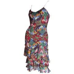 Christian Dior by John Galliano Silk Ruffle Hem Dress
