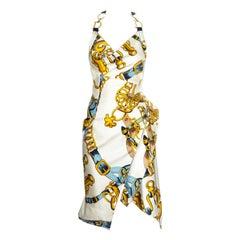 Christian Dior by John Galliano silk scarf bias cut halter neck dress, ss 2000