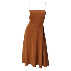 Christian Dior By John Galliano Size 10 Terra Cotta Tan Silk Vintage Slip Dress
