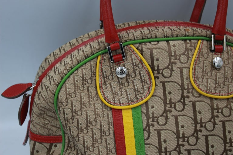 Christian Dior Rasta Bowling bag in canvas and multicolor leather. Really good condition Size 26x21