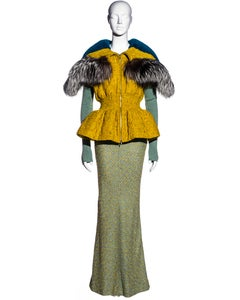 Christian Dior by John Galliano tweed and fur parka jacket and skirt, fw 1998