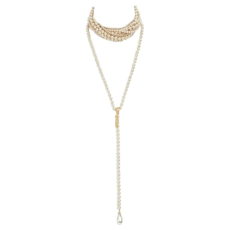 CHRISTIAN DIOR by JOHN GALLIANO twisted faux pearl choker drop necklace set For Sale