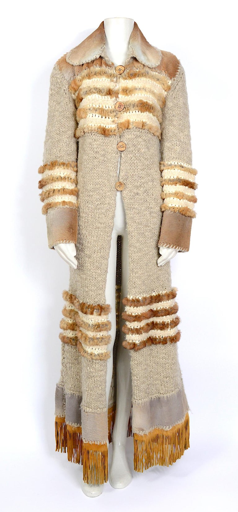 Amazing piece by John Galliano for Christian Dior fall 2000 Made in a knitted and crocheted YAK cashmere, rabbit shearling, and Kangaroo fur. This is a showroom model used for press only and has been stored since. In beautiful