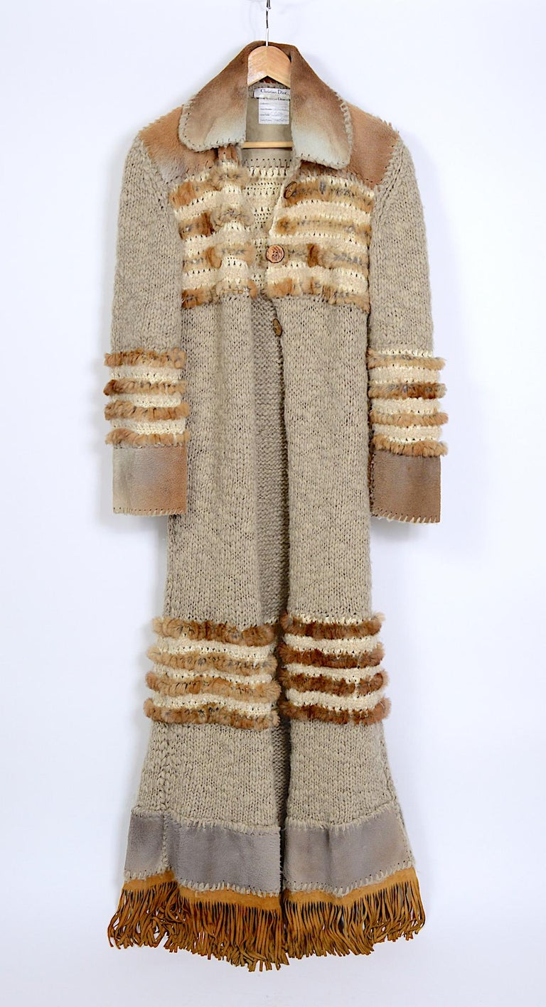 Beige Christian Dior by John Galliano vintage fall 2000 yak cashmere knit and fur coat For Sale