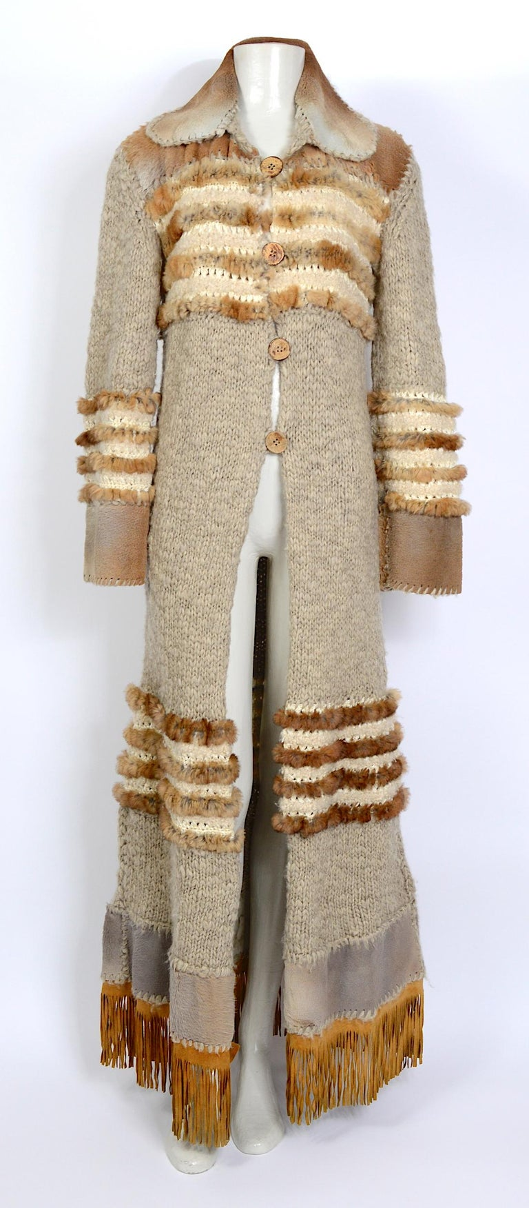 Christian Dior by John Galliano vintage fall 2000 yak cashmere knit and fur coat For Sale 2