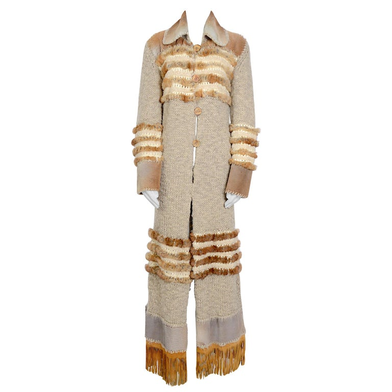 Christian Dior by John Galliano vintage fall 2000 yak cashmere knit and fur coat For Sale