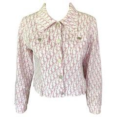 Christian Dior By John Galliano Vintage Pink Trotter Denim Logo Monogram Jacket