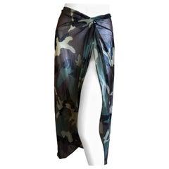 Christian Dior by John Galliano Vintage Sheer Camo Beach Wrap Skirt Pareo Sz 44