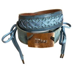 Christian Dior by John Galliano Vintage Wide Denim Lace Up Belt